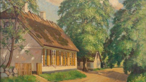 Høsterkøb Gamle Skole Maleri af Edmond Petersen Foto: Ole Tage Hartmann
