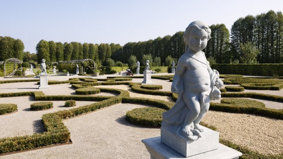 Foto: Barokhaven med skulptur Hans Ole Madsen