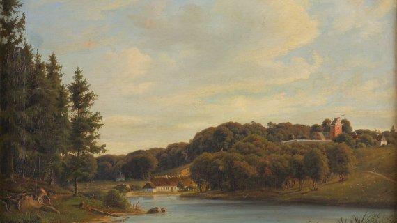 Maleri: Kiærskous maleri af Søllerød Sø