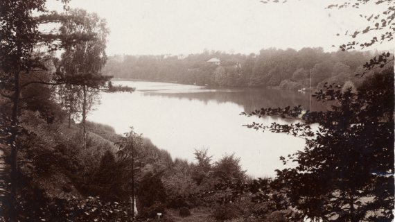 Foto: Udsigt fra Søllerød Kirkegård mod Søllerød_sø ca. 1910