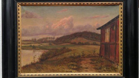 Maleri: Udsigt mod Landsebakken, Gjødesen