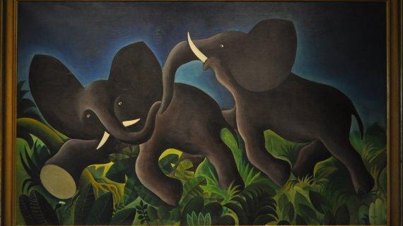 Maleri af Hans Scherfig: Legende elefanter