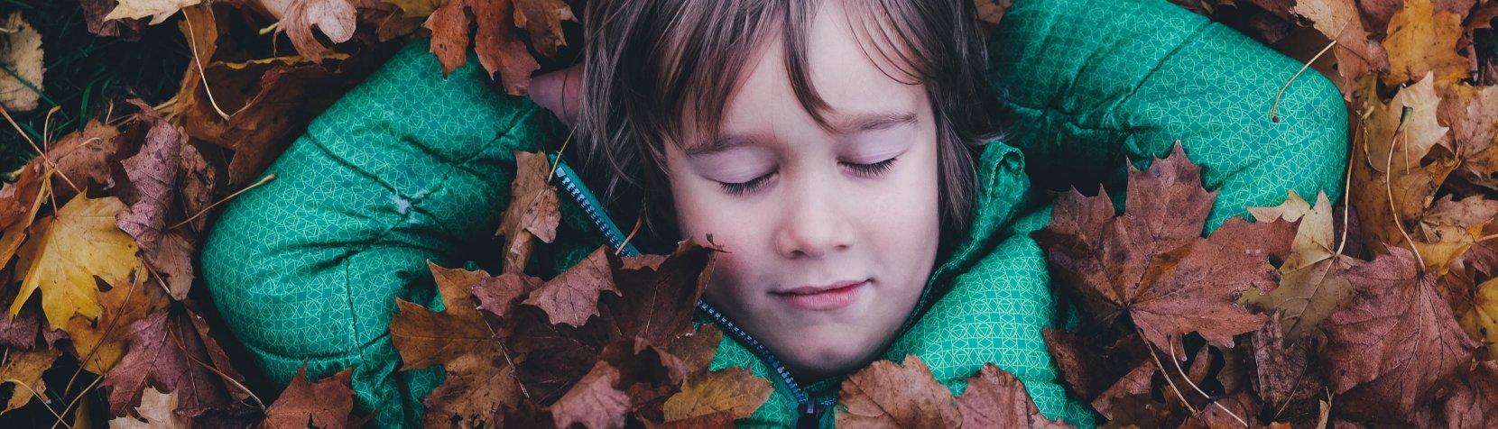 Foto: Efterårsferie - dreng i blade