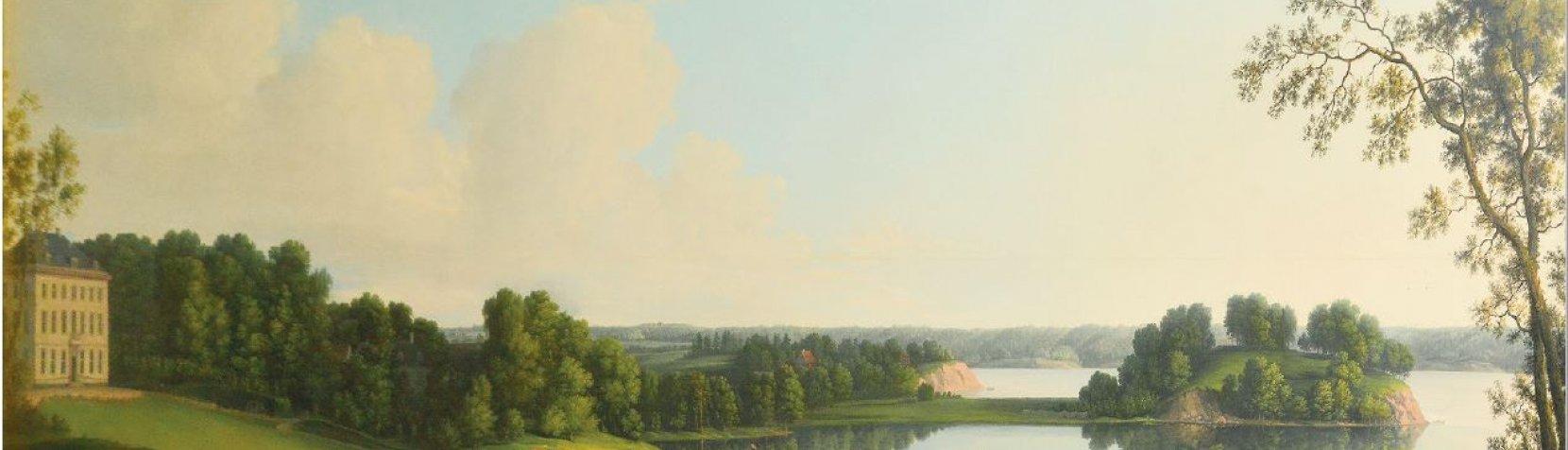 Maleri: Næsseslottet med bugten lille kalv og halvøen Luknam af Erik Pauelsen