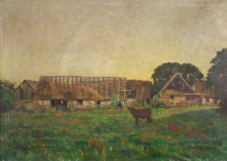 Ebberødgaard 1890. Maleri af Edmond Petersen.