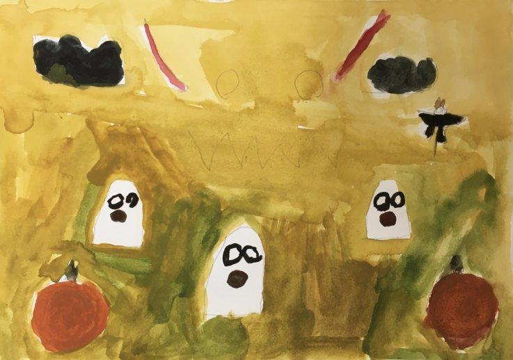 Tegning med spøgelser fra Billedskolen