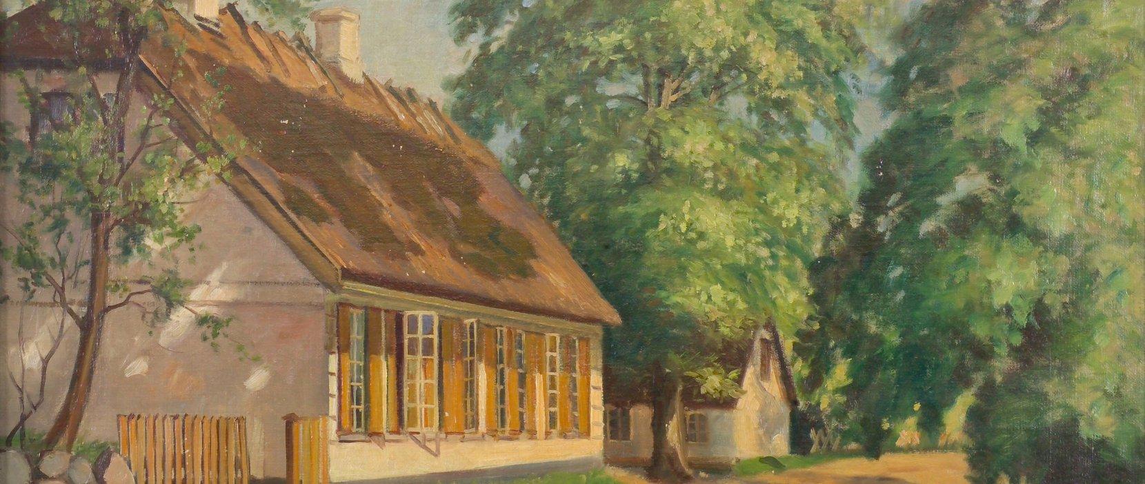 Høsterkøb Gamle Skole Maleri af Edmond Petersen